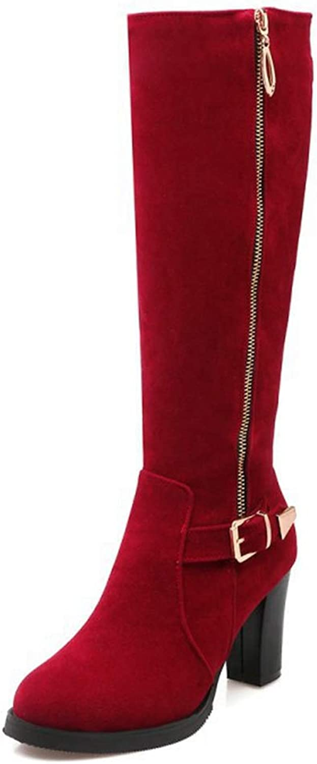 CYBLING Women's Western Knee High Riding Boots Buckle Strap Chunky Heel Faux Suede Winter Warm Fur Boots