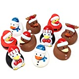 JOYIN 3' Christmas Holiday Character Rubber Ducks for Fun Bath Squirt Squeaker Duckies, Toy, School Classroom Prizes Ducky, Stocking Stuffers and Party Favors (10 PCs)