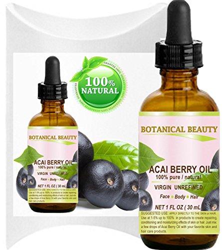 Botanisches Schönheits-Acai-Öl. 100% Reines/Virgin/Unraffiniertes kaltgepresstes Trägeröl. Für Haut-, Haar-, Lippen- und Nagelpflege. (1 Fl. oz - 30 ml)