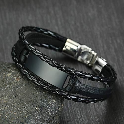 DSNSNSSL Heren Gratis Custom Graveren Armbanden Sportief Gevlochten Zwart Wrap Leer