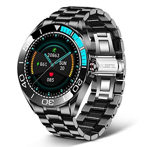LIGE Smartwatch für Herren, 1,3 Zoll Aktivitätstracker mit Touchscreen, Herzfrequenzmesser Blutdruck Fitness Uhr, wasserdichte IP67 Edelstahluhr mit Stoppuhr für Android iOS