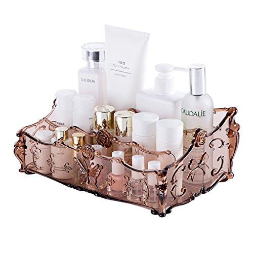 YINGBO Acrylique Bijoux et Stockage Cosmétique Organisateur de Maquillage Transparent Acrylique Matériel Organisateur Cosmétique avec Trois espaces réglables