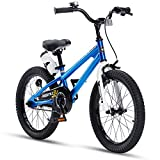 RoyalBaby Kids Bike Boys Girls Freestyle BMX Bicycle With Kickstand Gifts for Children Bikes 18 Inch Blue