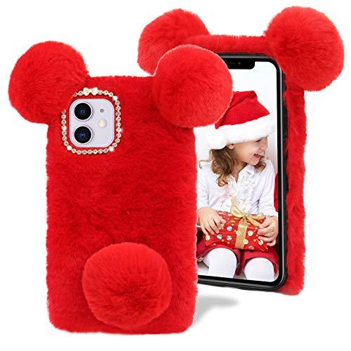 Plüsch Panda Hülle für iPhone 11 Pro Max 6,5 Zoll,MOIKY Niedlich Flauschige Winter Weich Warm Faux Pelz Haar Pom Ball &Bling 3D Diamant Bowknot Stoßfest Schutz Handyhülle für iPhone 11 Pro Max,Rot