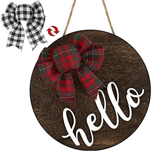 Hello Sign for Front Door Welcome Porch Decor Wall Hanging Rustic Wreaths Wooden Home Outdoor Farmhouse Decorations