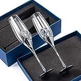 DreamJ Kreative Champagnergläser Hochzeit Kristallgläser Sektgläser Kelch Herzform Weingläser Set 2 Stück Hochzeit Geschenk mit Geschenkbox