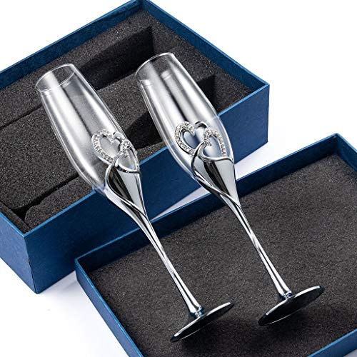 DreamJ - Juego de copas de champán creativas para copas de cristal de boda con forma de corazón, copas de champán para regalo de boda con caja de regalo