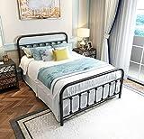 Black Metal Bed Frame Full Size with Headboard and Footboard Single Platform Mattress Base,Metal Tube and Iron-Art BedFull,Black