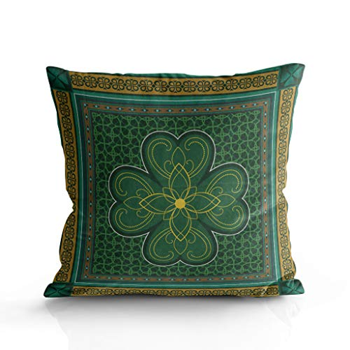 Square Throw Pillow Cushion Cover for Chair/Bed/Cushion/Sofa,St. Patrick's Day Theme Retro Celtic Knots Lucky Clover Design Irish Decor,Pillow Sham Cases for Kids/Couples,Two Sides 20 x 20inch