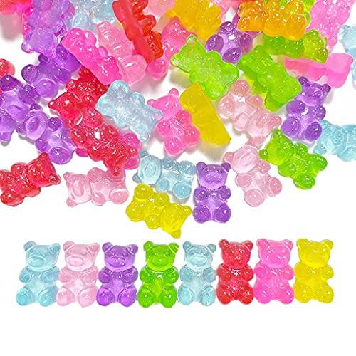 Daimay 60 piezas de resina caramelo gomoso oso Flatbacks Cabujones Deco Bears abalorios coloridos para collar DIY colgantes llavero broche pendiente teléfono móvil caso accesorios – colores mezclados