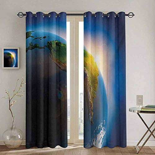 DONEECKL World Cute Curtain Early Morning in South America Continent Rising Sun Days Cycle Theme for Living Room or Bedroom W52 x L63 Inch Blue Green Earth Yellow