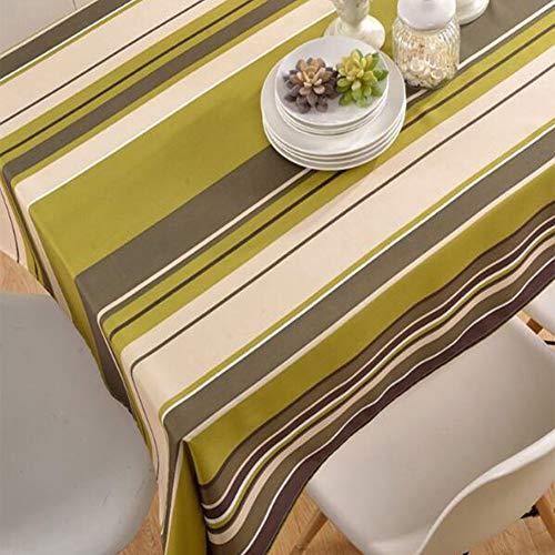 Nappe de tableNappe imprimée en nappe de table basse en polyester à rayures imperméable et résistante à l'huile,greenstripes,130cm*180cm