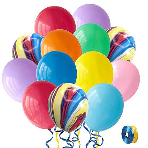 SKYIOL Ballon Anniversaire Multicolore 100 pièces 30cm Hélium Latex Ballon Baudruche Coloré avec 2 pièces 10m Ruban pour Enfants Fille Garçon Anniversaire Bapteme Mariage Décorations de Fête