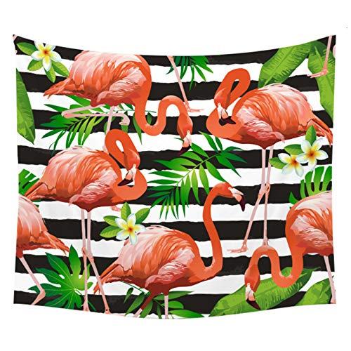 N/A Impresión 3D de tapices Tapiz de Flamenco Rosa Poliéster Planta Tropical Hojas Verdes Artificiales Jardín Flor Decoración para Colgar en la Pared Tapiz de Toalla de Playa