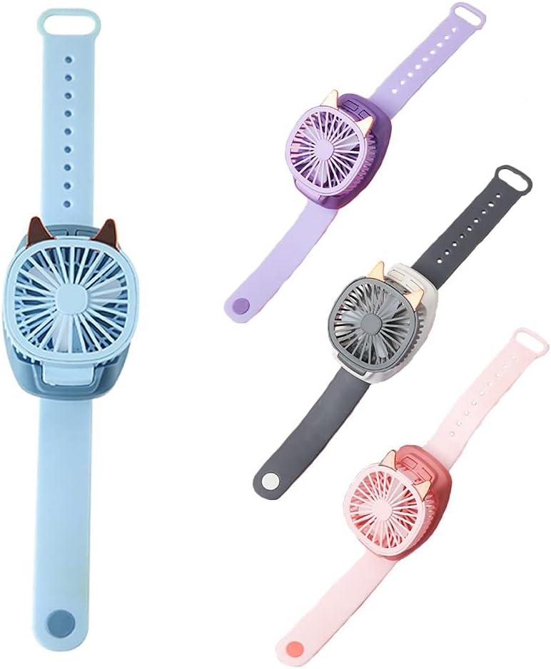 Handheld Folding Portable Wrist Fan, USB Charging Ultra-Quiet Third Gear Speed Electric Mini Watch Fan