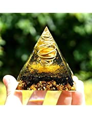 ACEACE Orgón Pirámide del Ojo del Tigre Esfera Alrededor de la pirámide de Cobre En Círculo con Torbellino Negro Turmalina Orgonite Reiki (Size : 60mm)