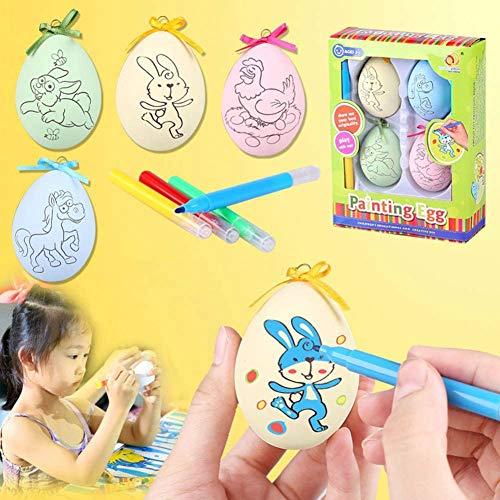 SJTL DIY Pascua Pintado a Mano Huevo 4 Huevos 4 Corrales para Colorear Manual Dibujos Animados Pintado Cáscara de Huevo Juguete Ejercicio Creativo