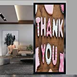 wonderr Static Cling Stained Glass Film Window, Thank You Romantic Sweet Cookie Letters Sugar Candy...