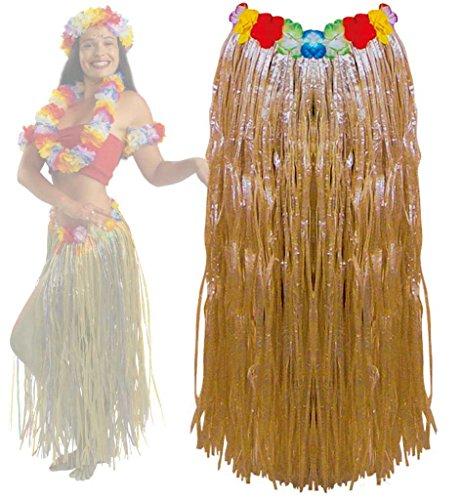Hularock, mit Gummizug, Länge ca. 80 cm, Mottoparty, Karneval, Strand, Urlaub, Party (natur)
