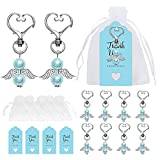 Baby Shower Favors Angel Keychains Favor + Organza Bags + Thank You Card Tags, Guest Return Favors for Baby Boy Baby Shower, Bridal Shower, Wedding, Baptism, Birthday Party 20 Sets (Blue)