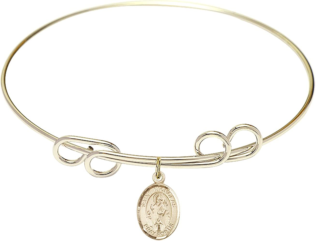DiamondJewelryNY Double Loop Bangle Bracelet with a St. Nicholas Charm.