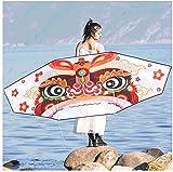 LSDRALOBBEB Cometas para Niños Lion Dance Head Kite con Cola, Enorme Cometa para Principiantes para Adultos y niños, fácil de Volar, Parques de Playa, Colorida 929(Color:400M Line)