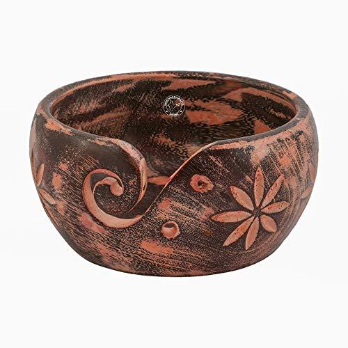 Soporte portátil de madera maciza y oscura de alta calidad hecho a mano para tejer ganchillo – Set de regalo de Navidad | Hind Handicrafts (15,24 x 15,24 x 7,62 cm), color rosa