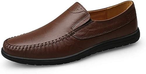Easy Go Shopping Chaussures en Cuir pour Hommes Chaussures Chaussures Lok Fu Décontracté Simple Chemise décontractée Chausson Souple de Couleur Unie pour Bateau Chaussures de Cricket (Couleur   Noir, Taille   41 EU)  grande remise