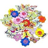 Holzknöpfe Motiv Blume & Schmetterling für Handwerk und Verzierungen, gemischt, 40 Stück