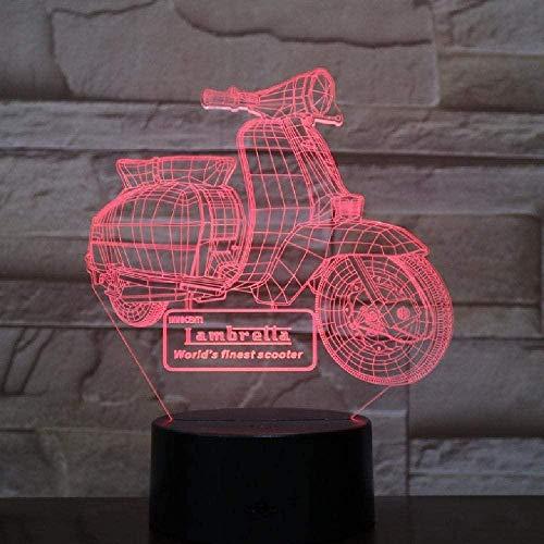 Motocicleta Scooter 3D Luces de noche LED RGB USB Lámpara de mesa táctil Decoración de fiesta en el hogar Regalo de Navidad para niños Lava