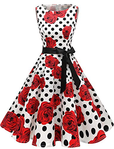 Gardenwed Damen 1950er Vintage Cocktailkleid Rockabilly Retro Schwingen Kleid Faltenrock White Rose Dot S