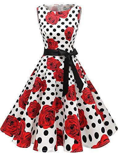 Gardenwed Damen 1950er Vintage Cocktailkleid Rockabilly Retro Schwingen Kleid Faltenrock White Rose Dot S