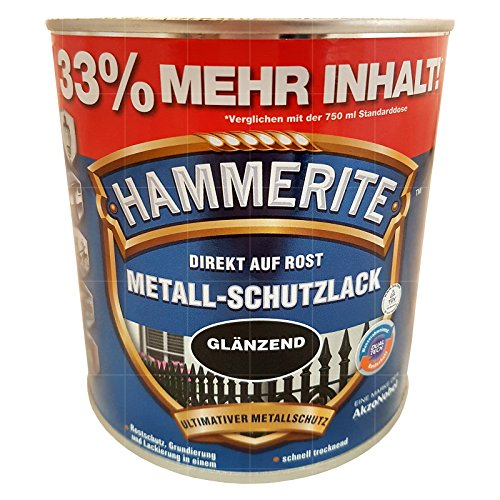 HAMMERITE 1 Liter Metallschutzlack schwarz glänzend