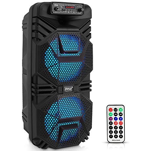 """Portable Bluetooth PA Speaker System - 600W Rechargeable Outdoor Bluetooth Speaker Portable PA System w/ Dual 8"""" Subwoofer 1"""" Tweeter, Microphone In, Party Lights, USB, Radio, Remote - Pyle PPHP2836B"""