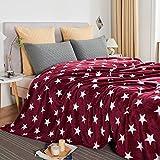 JYK Flannel Fleece Twin Blanket, 60'x80', Super Soft Plush Microfiber Fuzzy Blanket, Lightweight Fluffy Twin Blanket for Bed(Twin, Red Star)