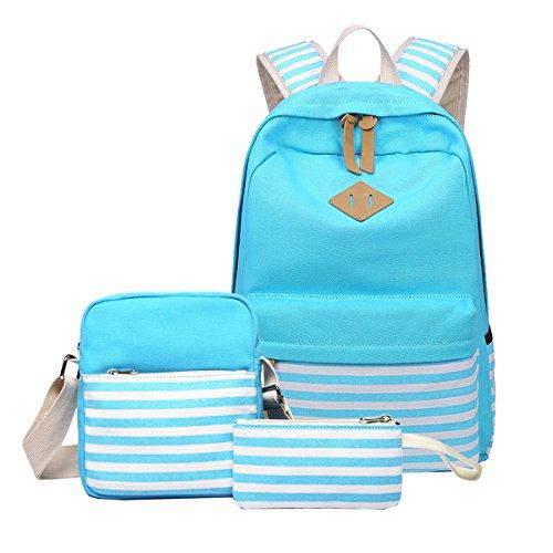 Abshoo Causal Canvas Stripe Backpack Cute Lightweight Teen Backpacks For Girls School Bag Set (Sky Blue Set)