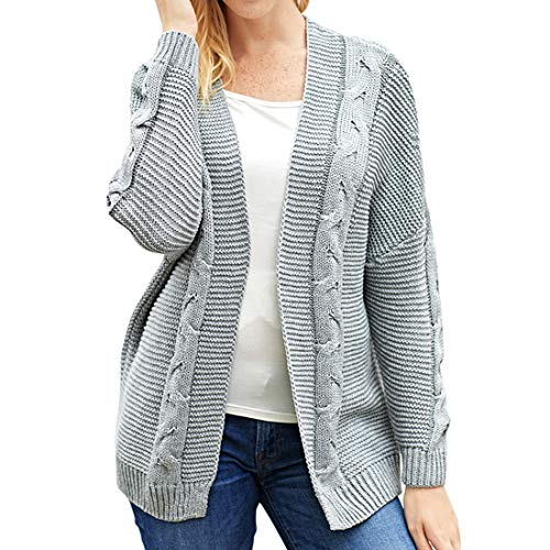 ZHUQI Women Cardigan Women Jacket Sexy Elegant Long Sleeve Solid Color Minimalism Trend Ladies Knitted Top Autumn New All-Match Long Fine Knitted Women Cardigan E-Gray L