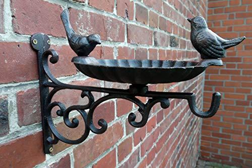 Vogeltränke Haken Futterschale Gusseisen Vogelbad Landhaus Antik schwarz-braun