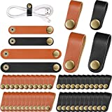 52 Pieces PU Leather Cable Straps, Earbud Cord Organizer, PU Leather Handmade Portable USB Cord Holder, Earphone Cable Tie Cable Management, for Travel, Home, School, Office