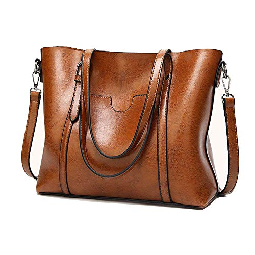 PU Leather Tote Bags for Women, ZYSY Large Capacity Classic Ladies Tote Handbags Shoulder Bags for Work Travel Satchels for Women Brown
