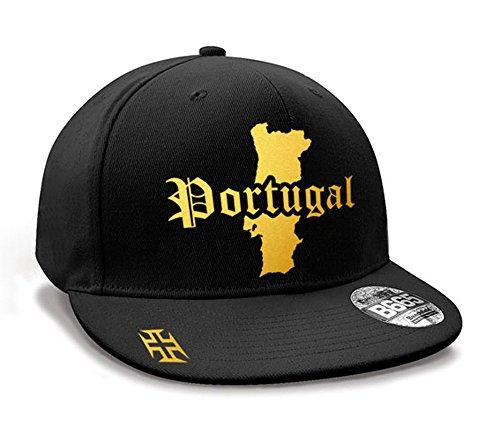 Casquette Hip Hop Portugal Mini Pays Noir et Or Métallisé