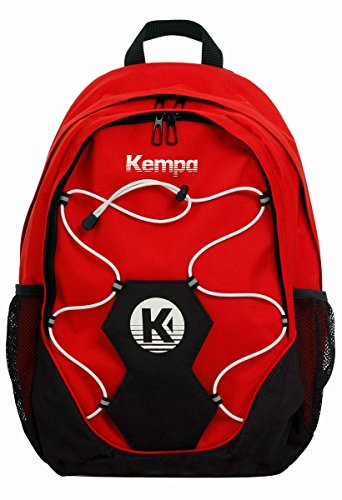 Kempa Handball Rucksack rot mit Ballnetz 35 x 15 x 48 cm, Volumen: 30 L + Trinkflasche