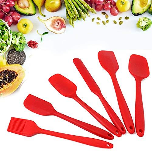 6 Juegos Utensilios Cocina de Silicona, TYC Espátulas de Silicona Resistente al Calor, Antiadherente Herramientas de Cocina para Uso Doméstico no tóxicos sin BPA, Rojo