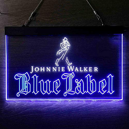 zusme Johnnie Walker Blue Label Whiskey Home Beer Bar Man Cave Led Neon Light Decoration Gifts Colorful Sign White + Blue W24 x H16