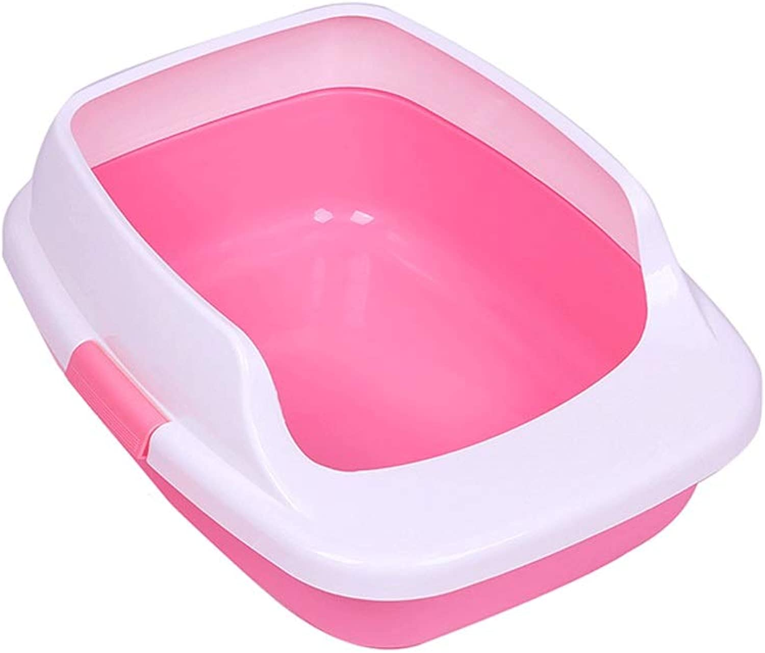 LMM HOME Semienclosed Cat Litter Basin To Prevent Spills Outside Cat Toilet Space Large Cat Litter Pot Pet Supplies (color   Pink)
