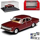 Wolga GAZ M24 Limousine Wein Rot DDR 1967-1992 mit Sockel und Vitrine H0 1/87 Herpa Modell Auto mit individiuellem Wunschkennzeichen