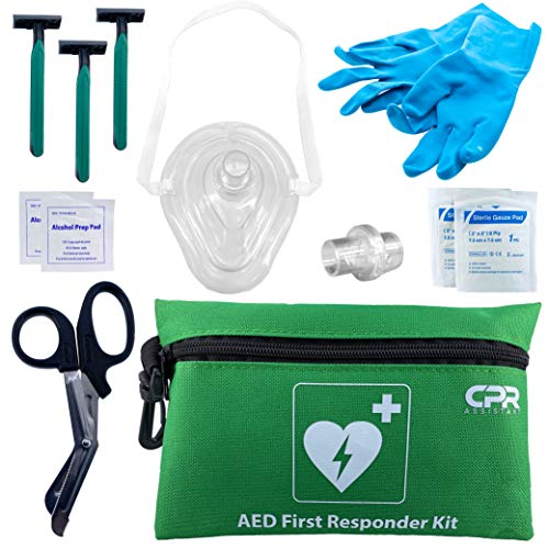 CPR Assistant AED Defibrillator Resuscitator Kit with 1 Way Valve, Gloves, Razor, Scissors, Gauze, Wipes, and Nylon Bag