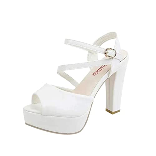 f009bcea56d Lolittas Ladies Women High Block Heel White Sandals