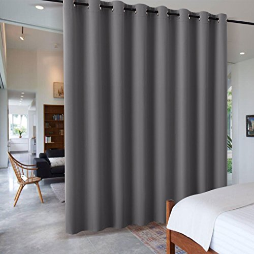 RYB HOME Gray Blackout Room Divider Curtain Decorative Wall Panel, Heavy Duty Energy Smart Privacy Curtain Panel for Home Theater/Patio Door/Balcony Door, 9 ft Long x 15 ft Wide, Grey, 1 Pc