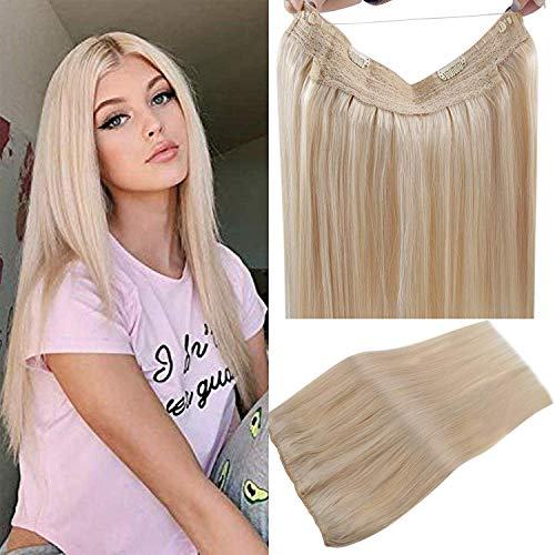 LaaVoo Echtes Haar 100g/Paket 20 Zoll Halo Hair on Extensions Echthaar Tressen mit Draht Hellblond Ein Stuck Halo Wire Hair Extension Unsichtbaren Band